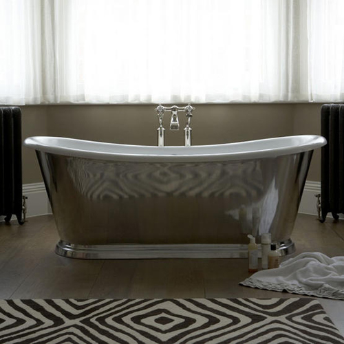 This pewter bateau bath above is from Barber Wilsons and the rug is from The Rug Company  I posted about this rug earlier this week. more bathroom inspiration   THE STYLE FILES