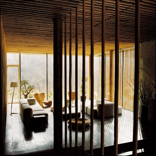 bamboo interior wall design bamboo house near the great wall of china the style files
