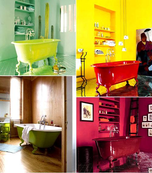 Ideias de decora o para um banheiro familiar tubs for Bright coloured bathroom accessories