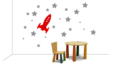 wall sticker rocket