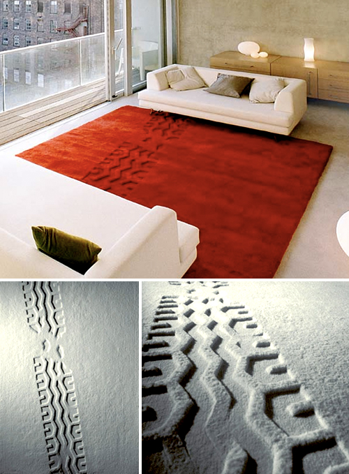 rug with tire print