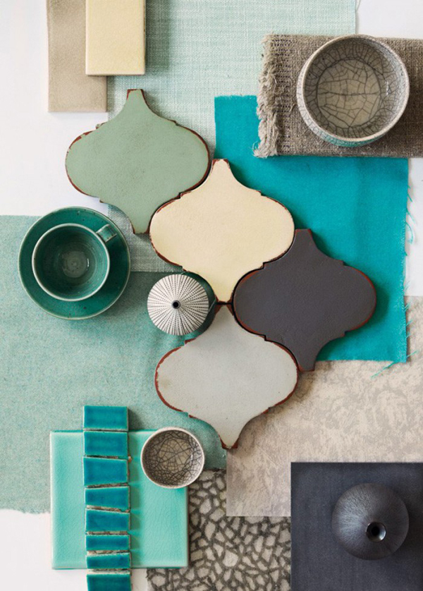 Blue green bathroom tiles the style files - Gray and cream color scheme ...