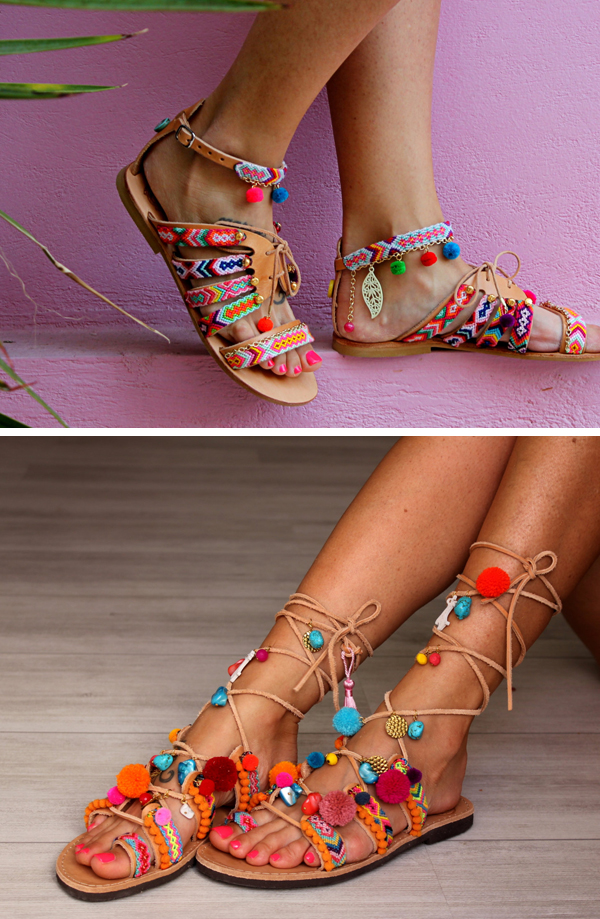715967b18da Hippie chic leather sandals decorated with colorful friendship bracelets  and bright color pompoms